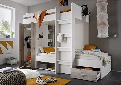 Letto a castello bianco con armadio e cassettone laminato legno