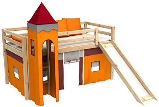 Letto a castello con scivolo bambini e materasso