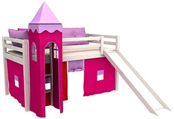 letto a castello rosa bambine con scivolo legno