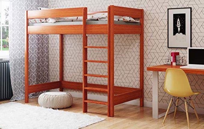 Letto a castello futon in legno scrivania
